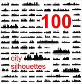 Detailed vector silhouettes of world cities — Cтоковый вектор