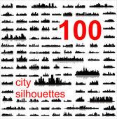 Gedetailleerde vector silhouetten van steden ter wereld — Stockvector