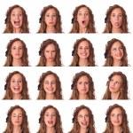 mooie jonge vrouw collectie van meningsuiting — Stockfoto