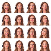 Beautiful Young Woman Collection of Expression — Stockfoto