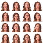 Vacker ung kvinna samling av uttryck — Stockfoto
