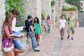 Grupo multicultural de estudantes universitários — Foto Stock