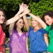 Teenage Female Friends with Hand in Stack — Foto de Stock