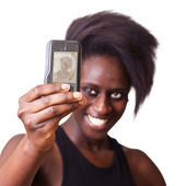 Woman Taking Self Portrait with Mobile Phone — Stock Photo