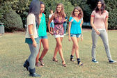 Teenage Girls Walking at Park — Stock Photo