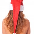 Back View of Topless Woman with Santa Hat — Stock Photo
