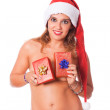 Sexy Topless Woman with Santa Hat and Christmas Gifts — Stock Photo