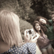 Girl Taking Photos to Her Friends — Foto de Stock