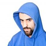 Retrato de joven agresivo en blanco — Foto de Stock   #7312330