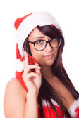 Sexy Woman with Santa Hat and Red Bra — Stock Photo