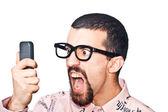 Angry Man Shouting on Mobile — Stock Photo