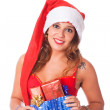 Sexy Woman with Santa Hat and Christmas Gift — Stock Photo