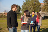 College Students Walking and Talking at Park — Foto de Stock