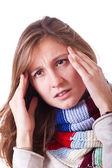 Donna malata con cefalea — Foto Stock