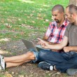 Two Men Working with Computer at Park — Stock Photo