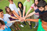 Happy Teenage Group with Hands on Stack — Foto de Stock