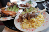 Legs of Lamb with rice — Stock Photo