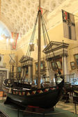 Wooden ship in museum of shipping — Stock Photo