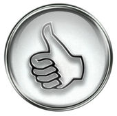 Thumb up icon grey — Stock fotografie