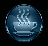 Coffee cup icon dark blue, isolated on black background. — Stock Photo