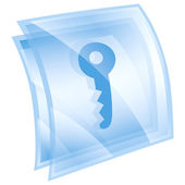 Key icon blue, isolated on white background — Stock Photo