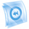 Rewind Back icon blue, isolated on white background. — Stockfoto