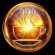 Coffee cup icon fire, isolated on black background - Photo