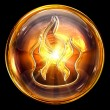 Fire icon fire, isolated on black background - 