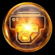 Printer icon fire, isolated on black background. - Stockfoto