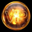 Vip icon fire, isolated on black background — Stock Photo