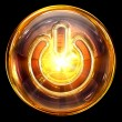 Power icon fire, isolated on black background - 