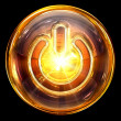 Power icon fire, isolated on black background — Stock Photo