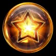 Star icon fire, isolated on black background — Stock Photo
