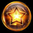 Star icon fire, isolated on black background - Stockfoto
