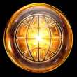 World icon fire, isolated on black background - Stockfoto