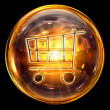 Shopping cart icon fire, isolated on black background - 