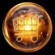 Shopping cart icon fire, isolated on black background — Stock Photo