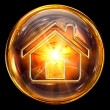 House icon fire, isolated on black background — Stock Photo