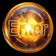 Stock Photo: Enter icon fire, isolated on black background.
