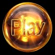 Play icon fire, isolated on black background — Stock Photo #7257025