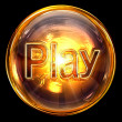 Play icon fire, isolated on black background - Foto de Stock