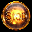 Stop icon fire, isolated on black background - Stockfoto