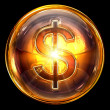 Dollar icon fire, isolated on black background. - Стоковая фотография