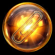 Paperclip icon golden, isolated on black background - 
