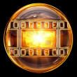 Film icon golden, isolated on black background — Stockfoto
