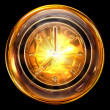 Stock Photo: Clock icon golden, isolated on black background