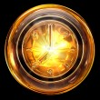 Clock icon golden, isolated on black background — Stock Photo