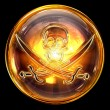 Pirate icon golden, isolated on black background - Stockfoto