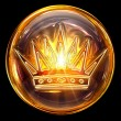 Crown icon golden, isolated on black background - 