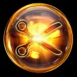 Scissors icon golden, isolated on black background — Stockfoto